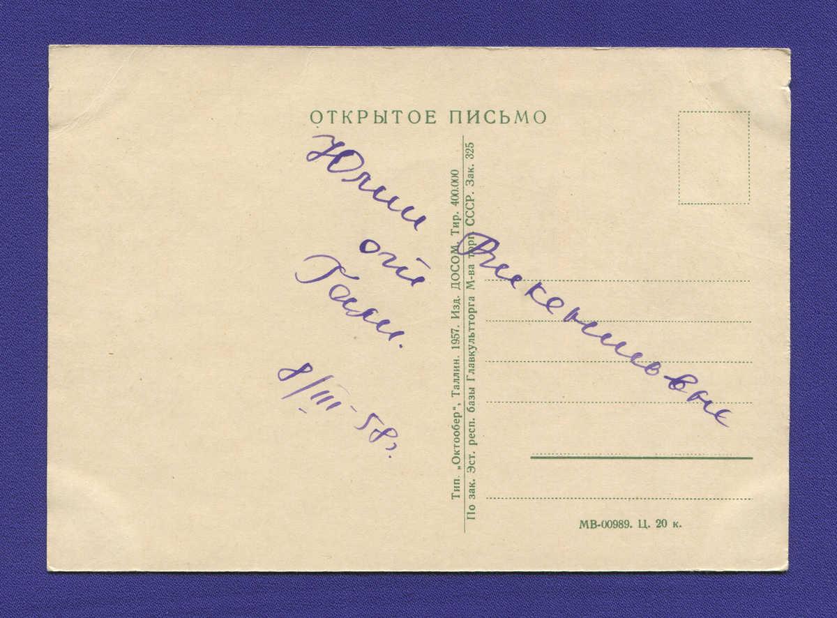 Открытка: Цветы. Альпийские незабудки ДОСОМ / 400000 / Таллин / Заполнена / 1957 года выпуска - 1