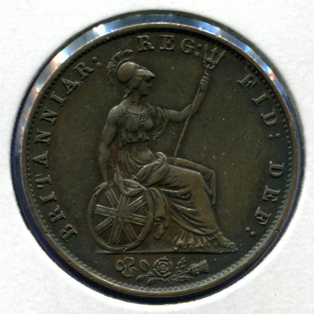 Англия 1/2 пенни 1857 XF  - 1