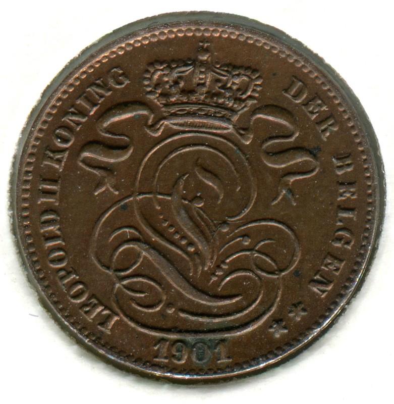 Бельгия 1 сантим 1901 #34.2 aUNC - 1