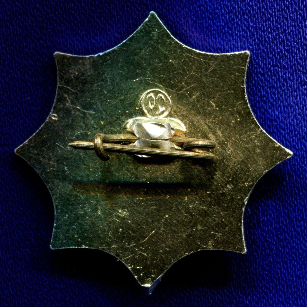 Значок «Спутник Бюро международного туризма Урал» Легкий металл Камень  Булавка - 1