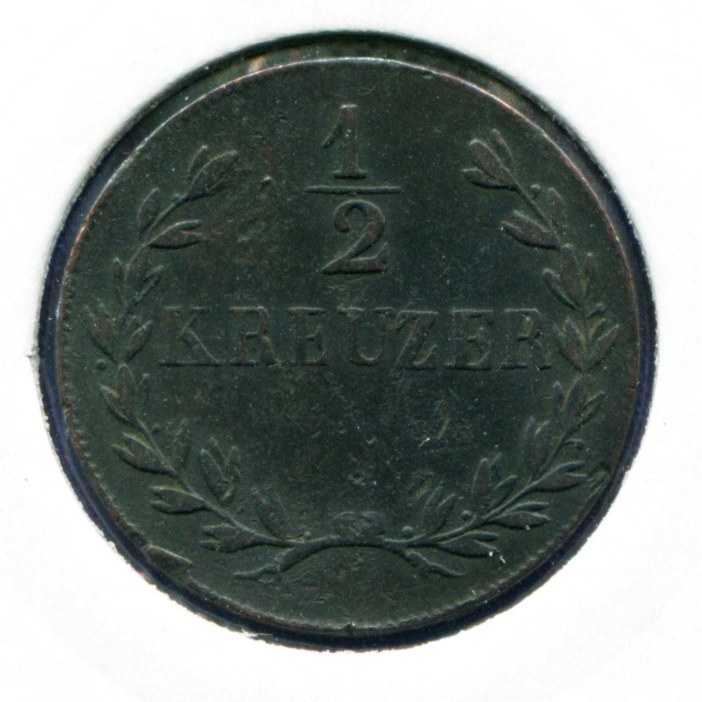 Германия/Баден 1/2 крейцера 1825 VF  - 1