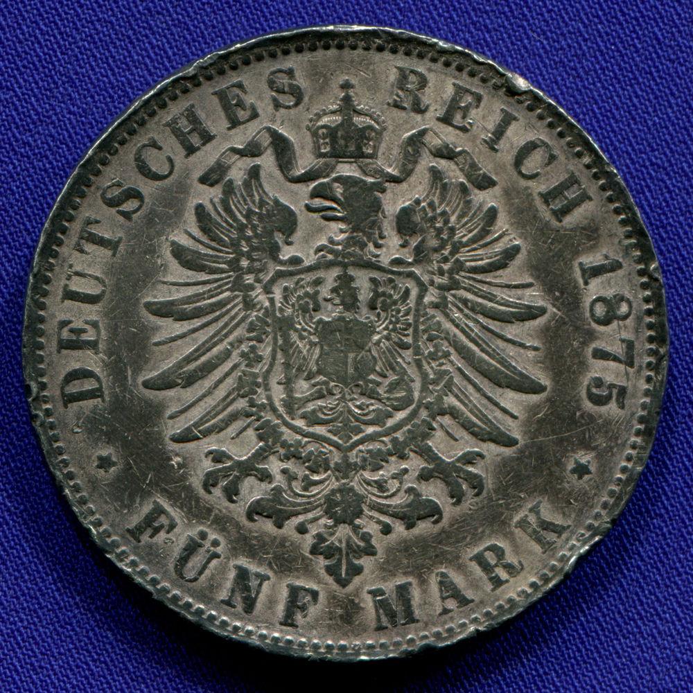 Германия/Вюртемберг 5 марок 1875 VF  - 1