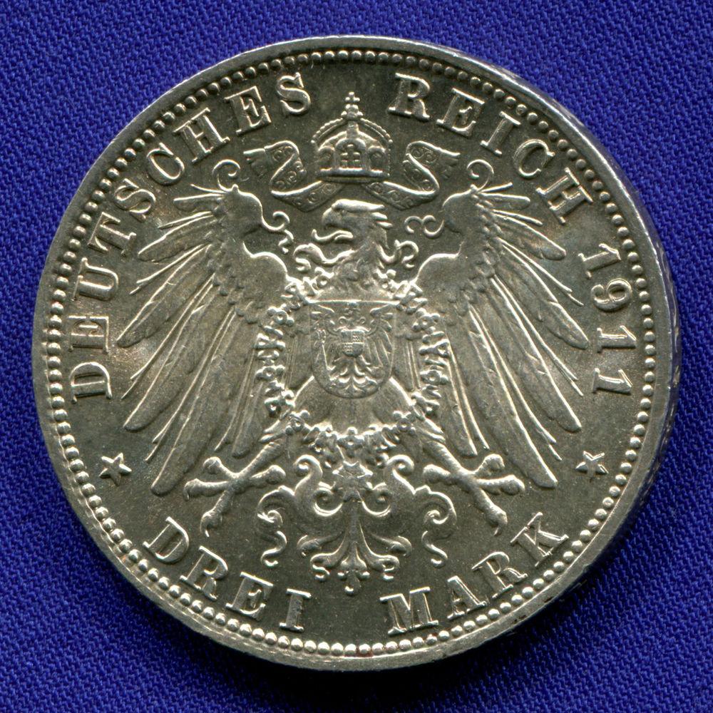Германия/Бавария 3 марки 1911 UNC 90 лет со дня рождения Луитпольда Баварского  - 1
