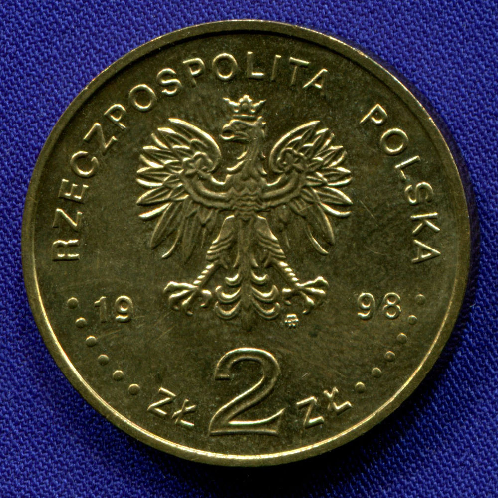 Польша 2 злотых 1998 aUNC 100 лет открытию полония и радия  - 1