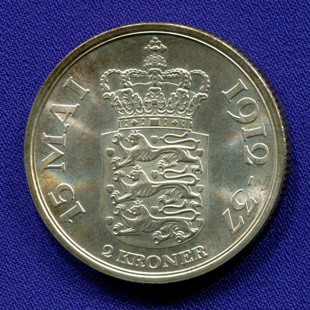 Дания 2 кроны 1937 UNC 25 лет правления  - 1