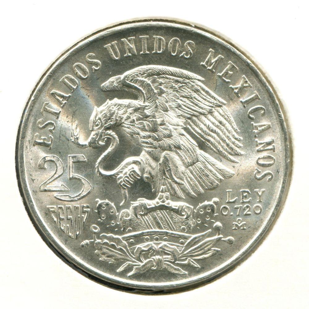 Мексика 25 песо 1968 aUNC Олимпиада в Мехико  - 1
