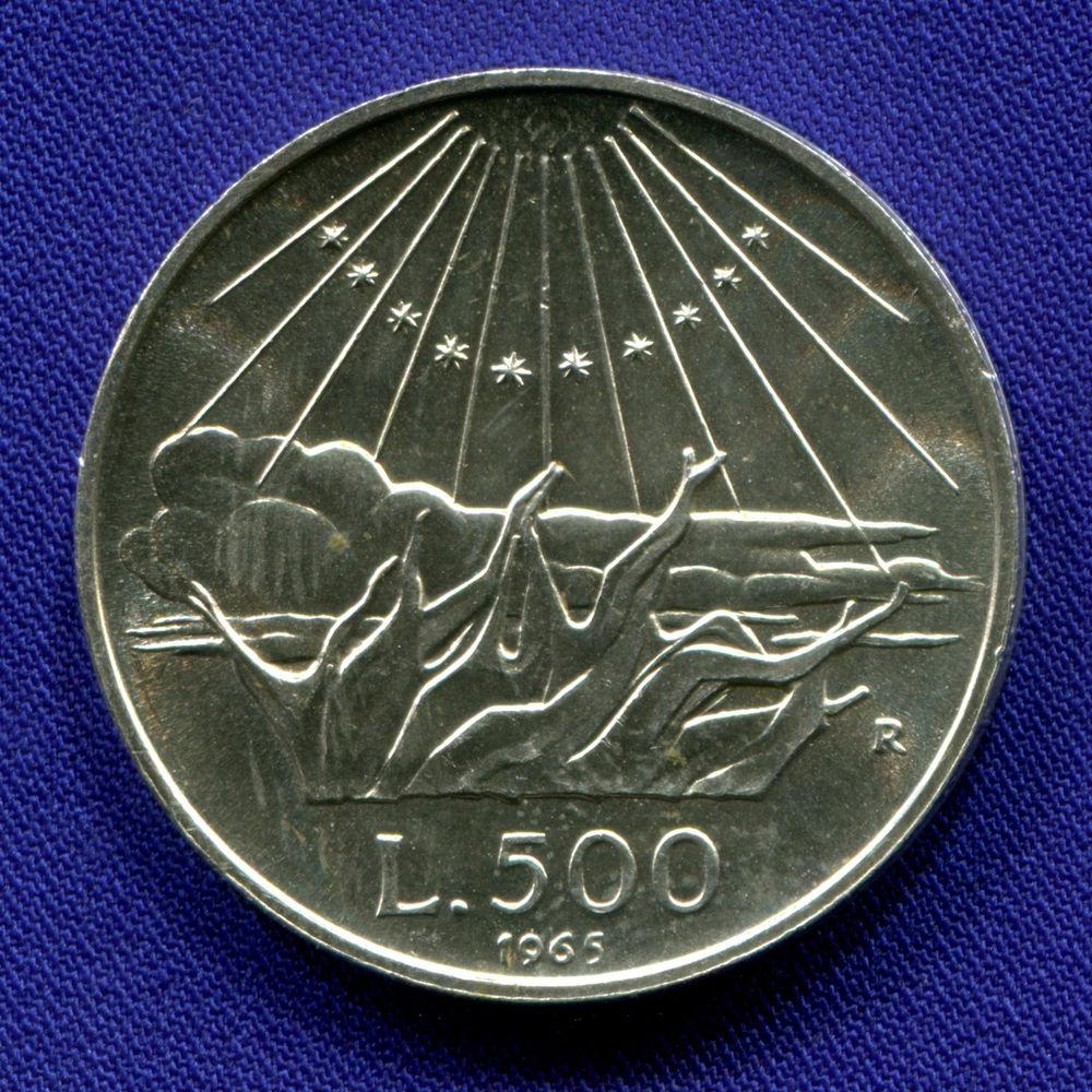 Италия 500 лир 1965 UNC 700 лет со дня рождения Данте Алигьери - 1
