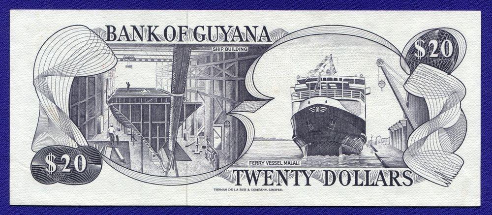 Гайана 20 долларов 1966-1989 UNC Pick 49 - 1