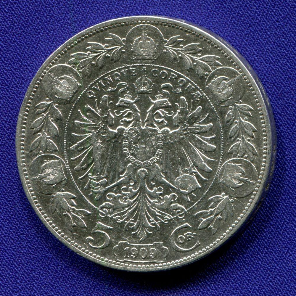 Австрия 5 корон 1909 VF  - 1