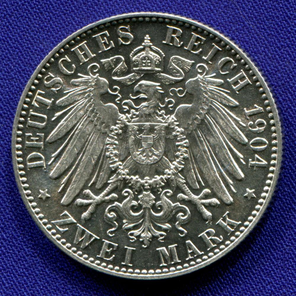 Германия/Саксония 2 марки 1904 aUNC Смерть Георга Саксонского  - 1