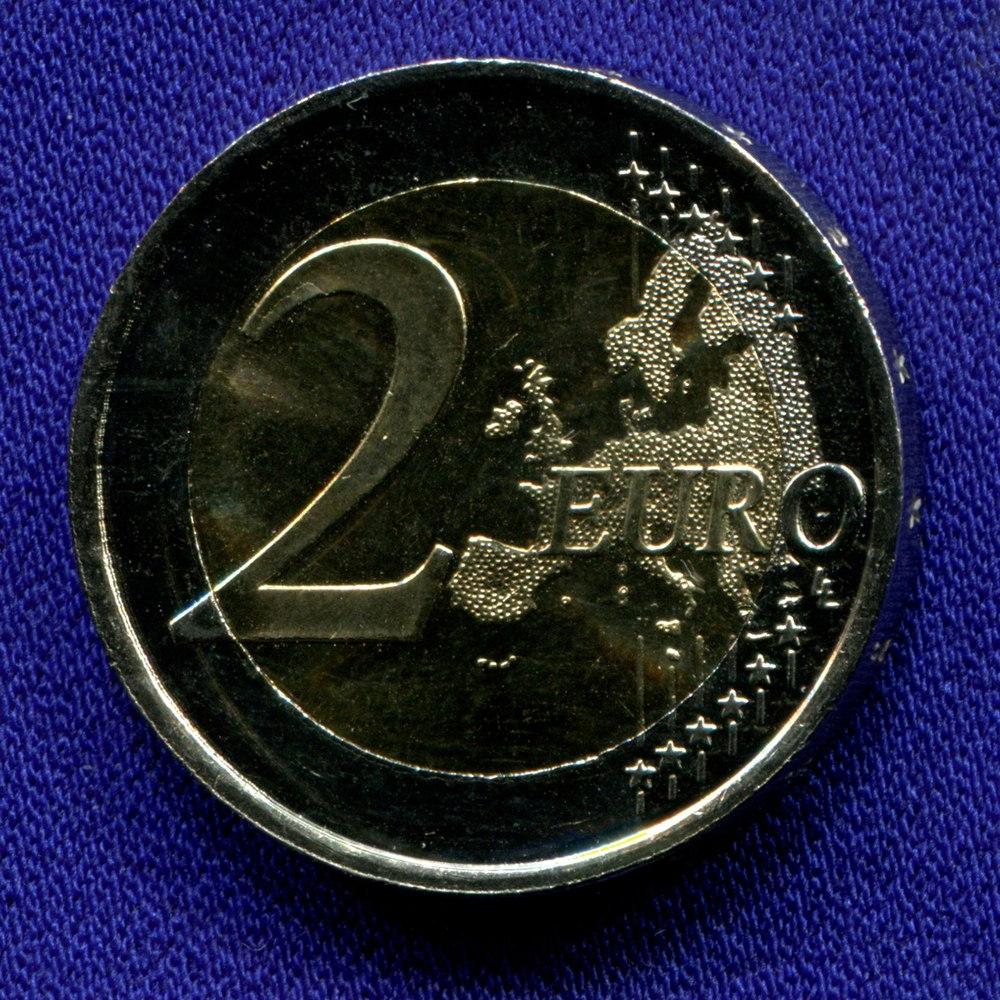 Латвия 2 евро 2015 UNC 30 лет флагу ЕС  - 1