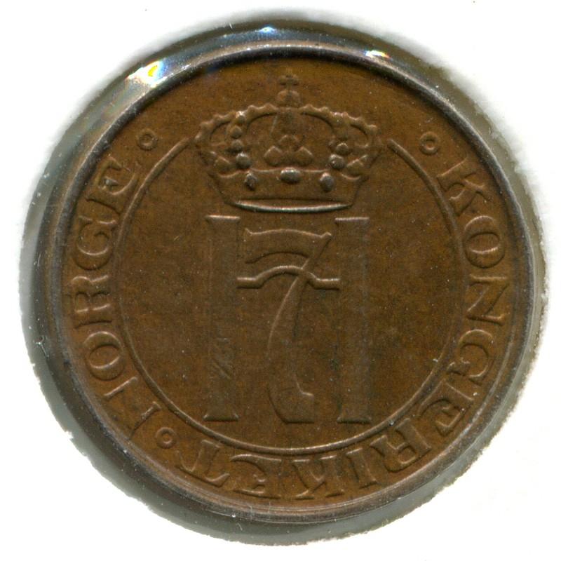 Норвегия 1 эре 1936 #367 aUNC - 1