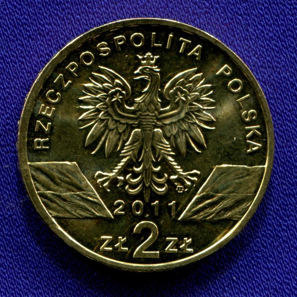 Польша 2 злотых 2011 UNC Европейский барсук - 1