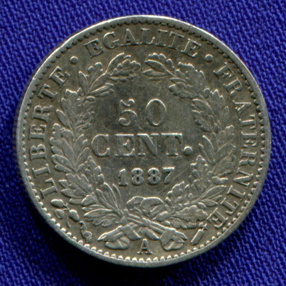 Франция 50 сантимов 1887 XF  - 1
