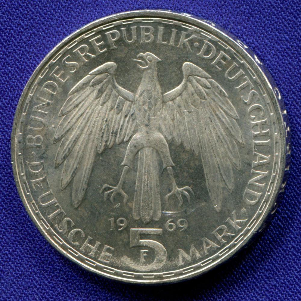 ФРГ 5 марок 1969 aUNC 375 лет со дня смерти Герхарда Меркатора  - 1