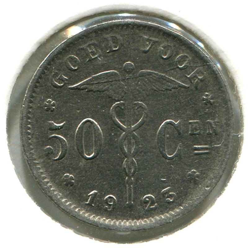 Бельгия 50 сантимов 1923 #88 - 1