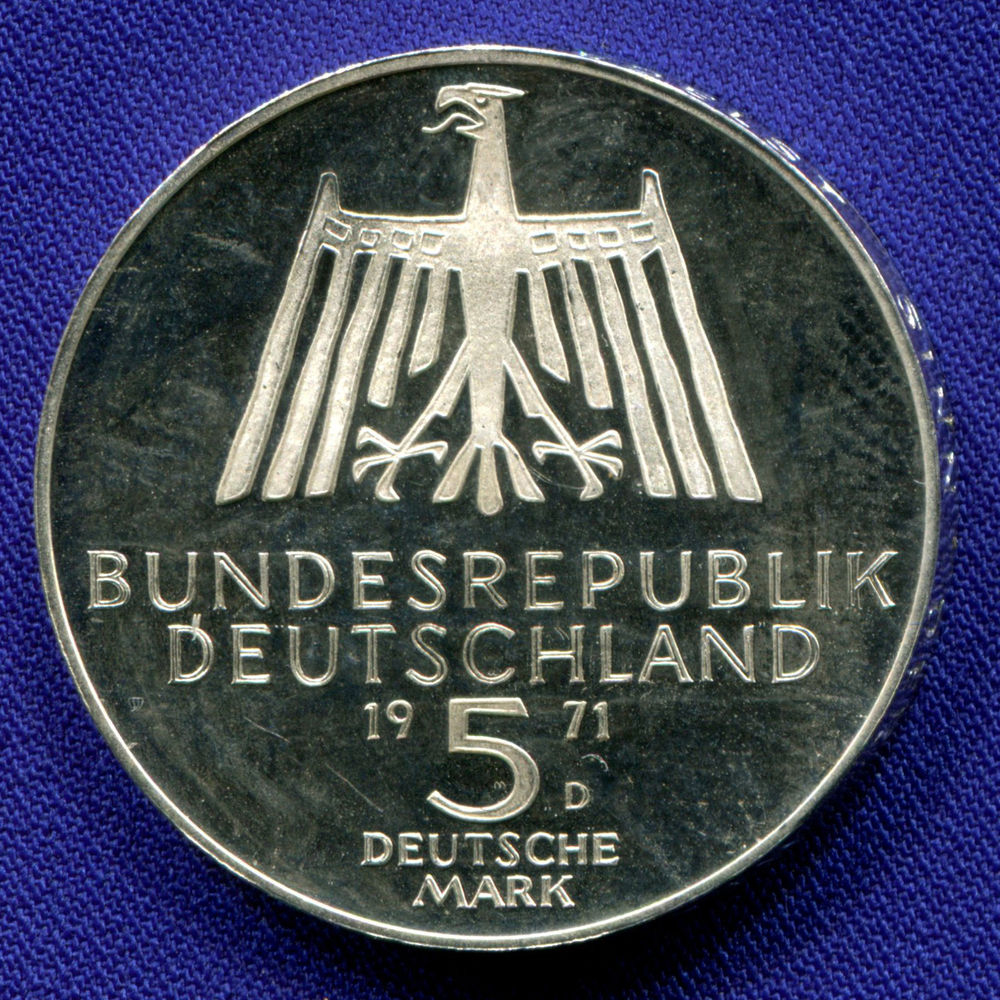ФРГ 5 марок 1971 Proof 500 лет со дня рождения Альбрехта Дюрера  - 1