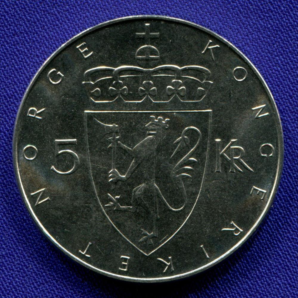 Норвегия 5 крон 1975 aUNC 100 лет кроне  - 1