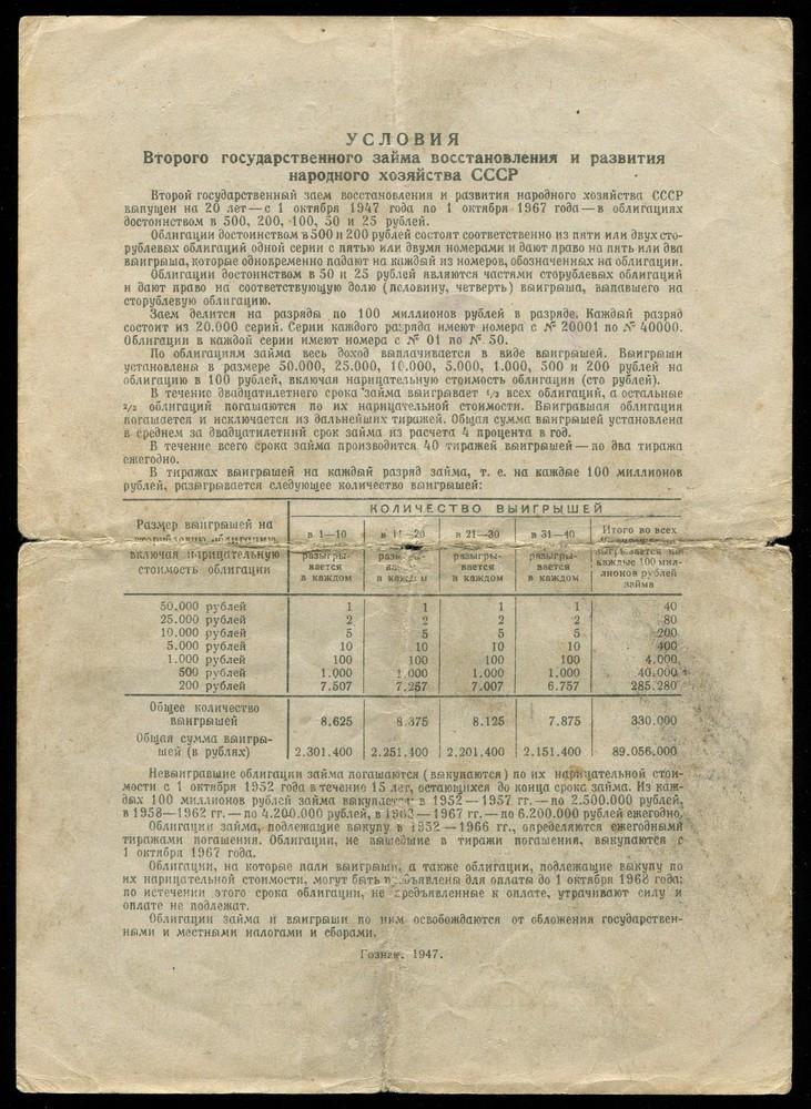 Второй государственный заем восстановления народного хозяйства облигация 100 рублей 1947 F - 1