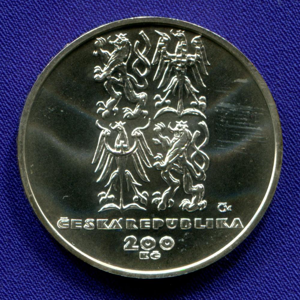 Чехия 200 крон 1999 aUNC 50 лет НАТО  - 1