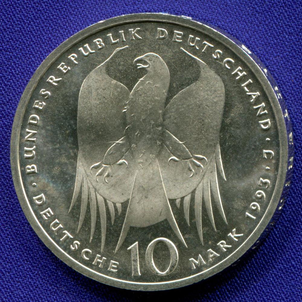 Германия 10 марок 1993 aUNC 150 лет со дня рождения Роберта Коха  - 1