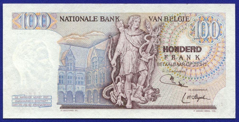 Бельгия 100 франков 1975 UNC - 1