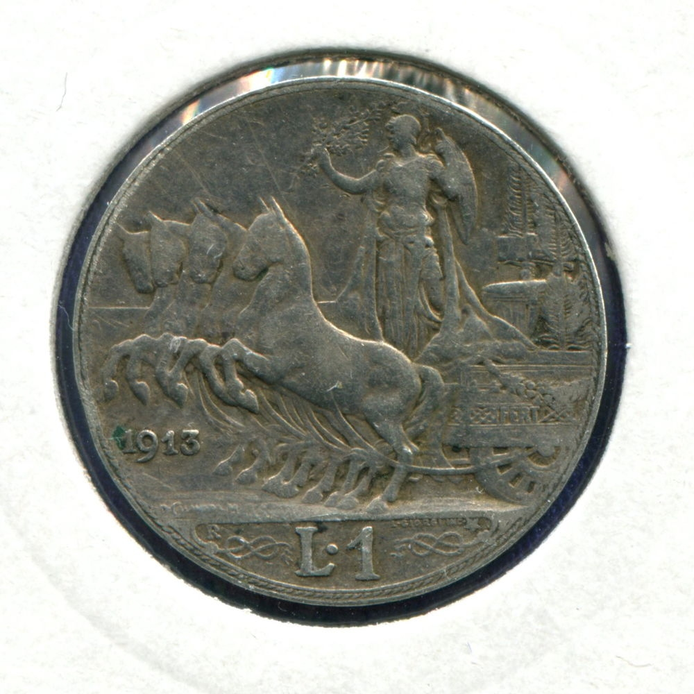 Италия 1 лира 1913 VF  - 1