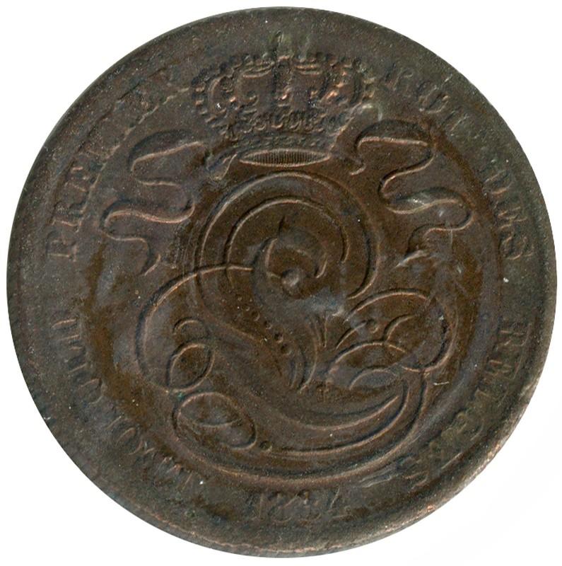 Бельгия 5 сантимов 1834 #5.1 XF - 1