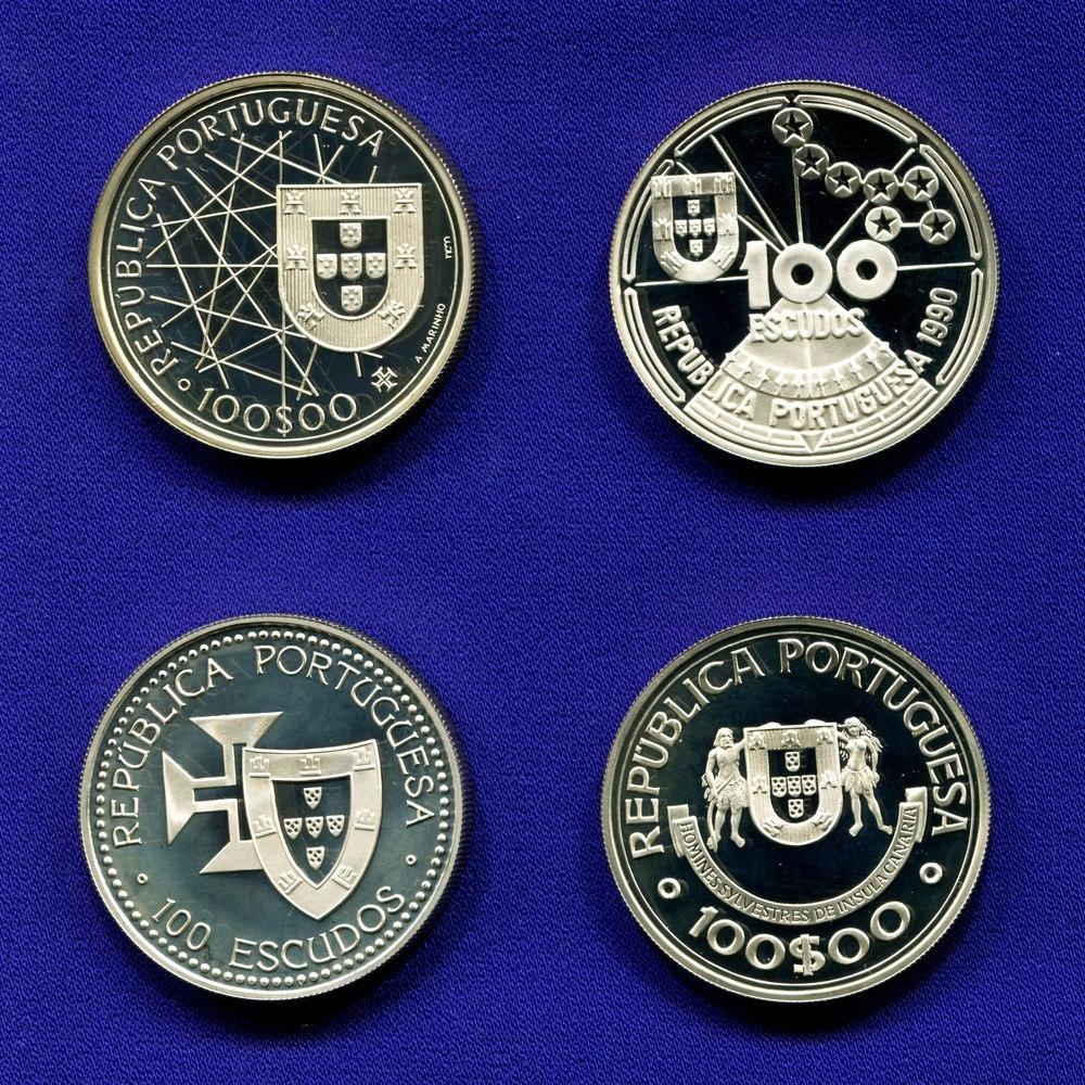 Набор монет Португалии 100 эскудо 1989-1990 Proof Исследования Атлантики  - 2