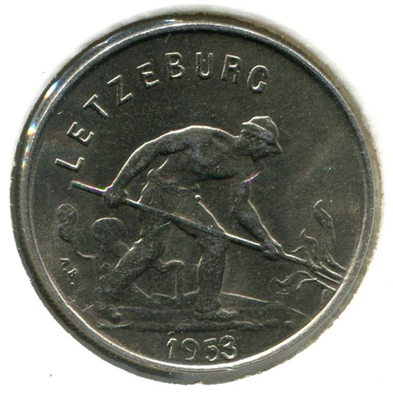 Люксембург 1 франк 1953 #46.2 BU - 1