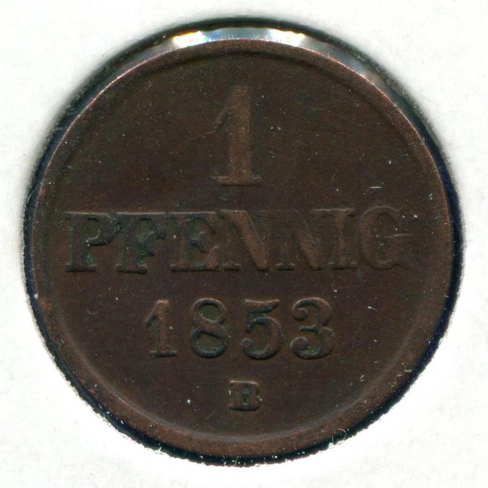 Германия/Брауншвейг-Вольфенбюттель 1 пфенниг 1853 VF  - 1