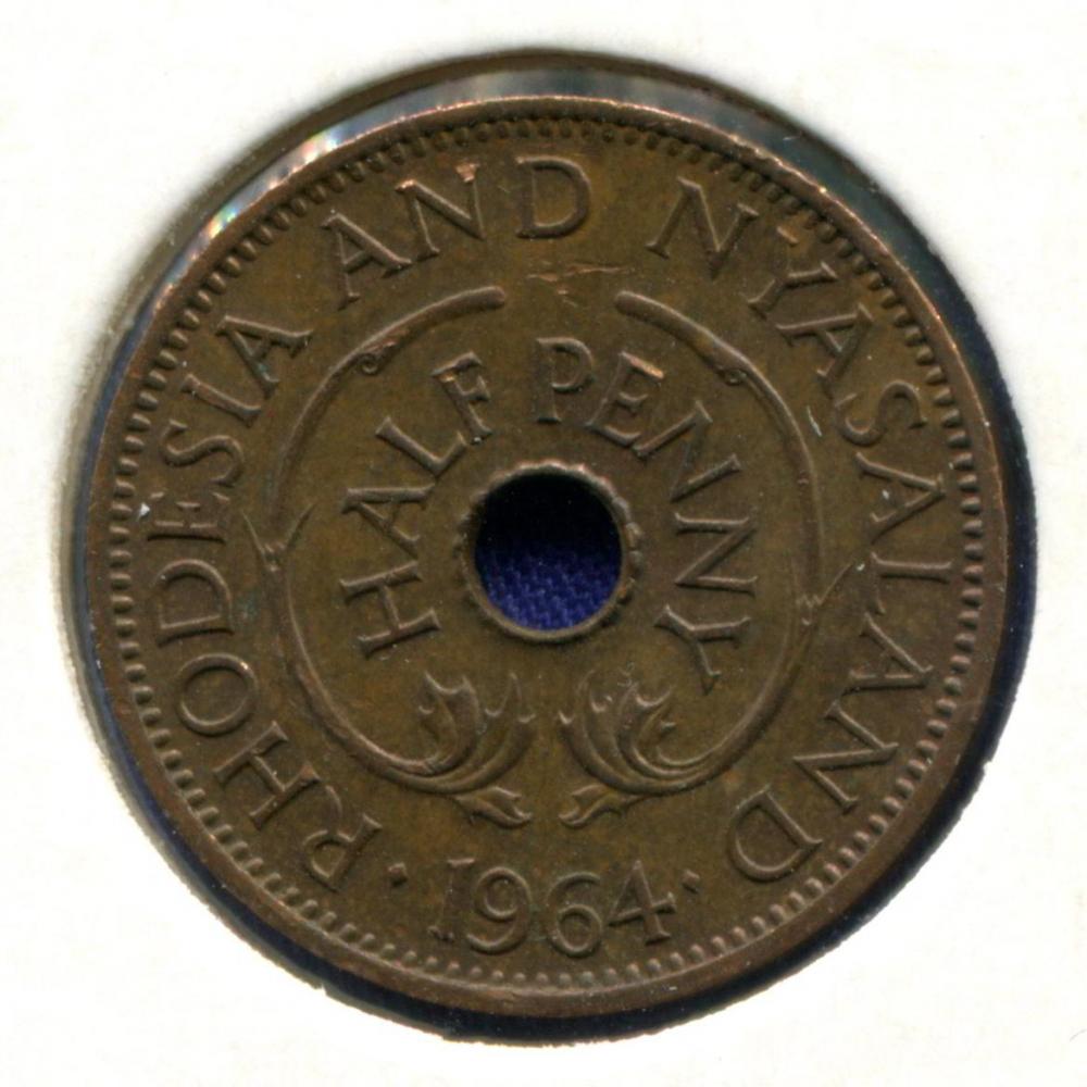 Родезия и Ньясаленд 1/2 пенни 1964 UNC  - 1