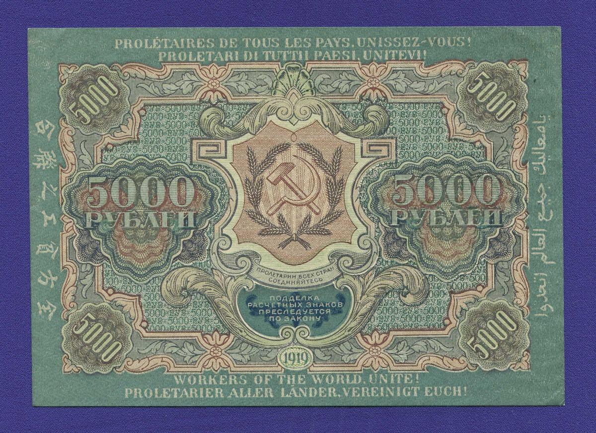 РСФСР 5000 рублей 1919 года / Н. Н. Крестинский / С. Бубякин / Р3 / XF-aUNC / Широкие волны - 1