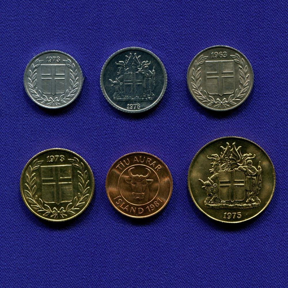 Исландия набор - 6 монет 1963 - 1981 UNC - 1