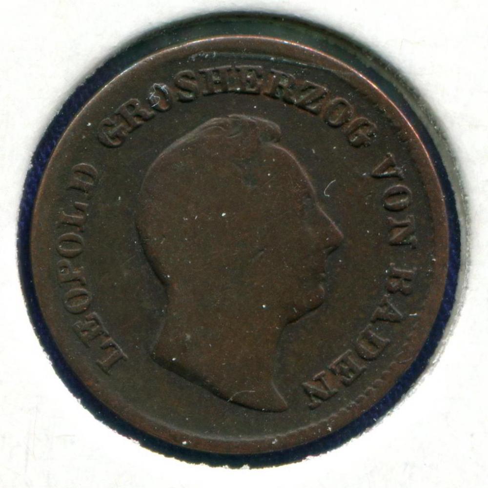 Германия/Баден 1/2 крейцера 1852 VG  - 1