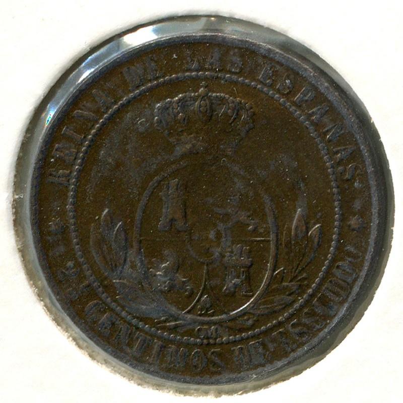 Испания 2,5 сантима 1867OM #634.5 XF - 1