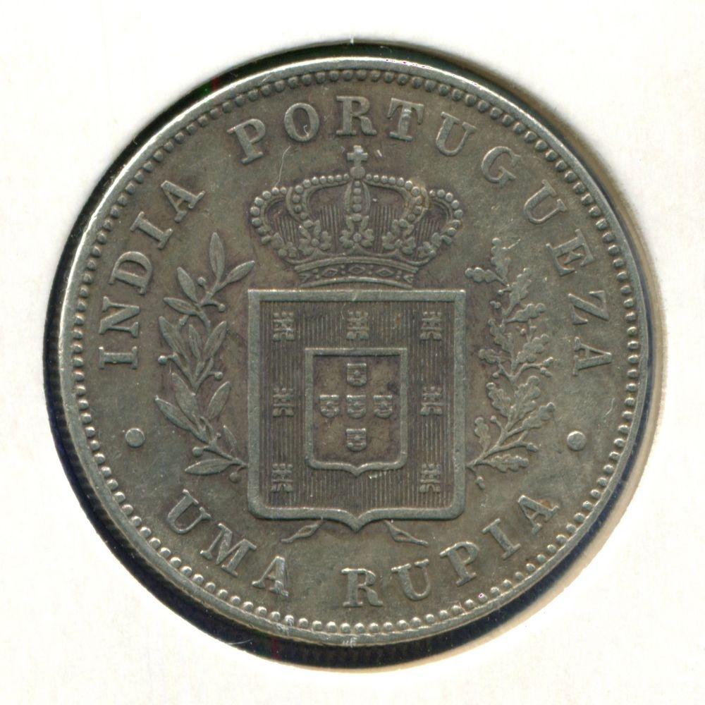 Португальская Индия 1 рупия 1882 GVF  - 1