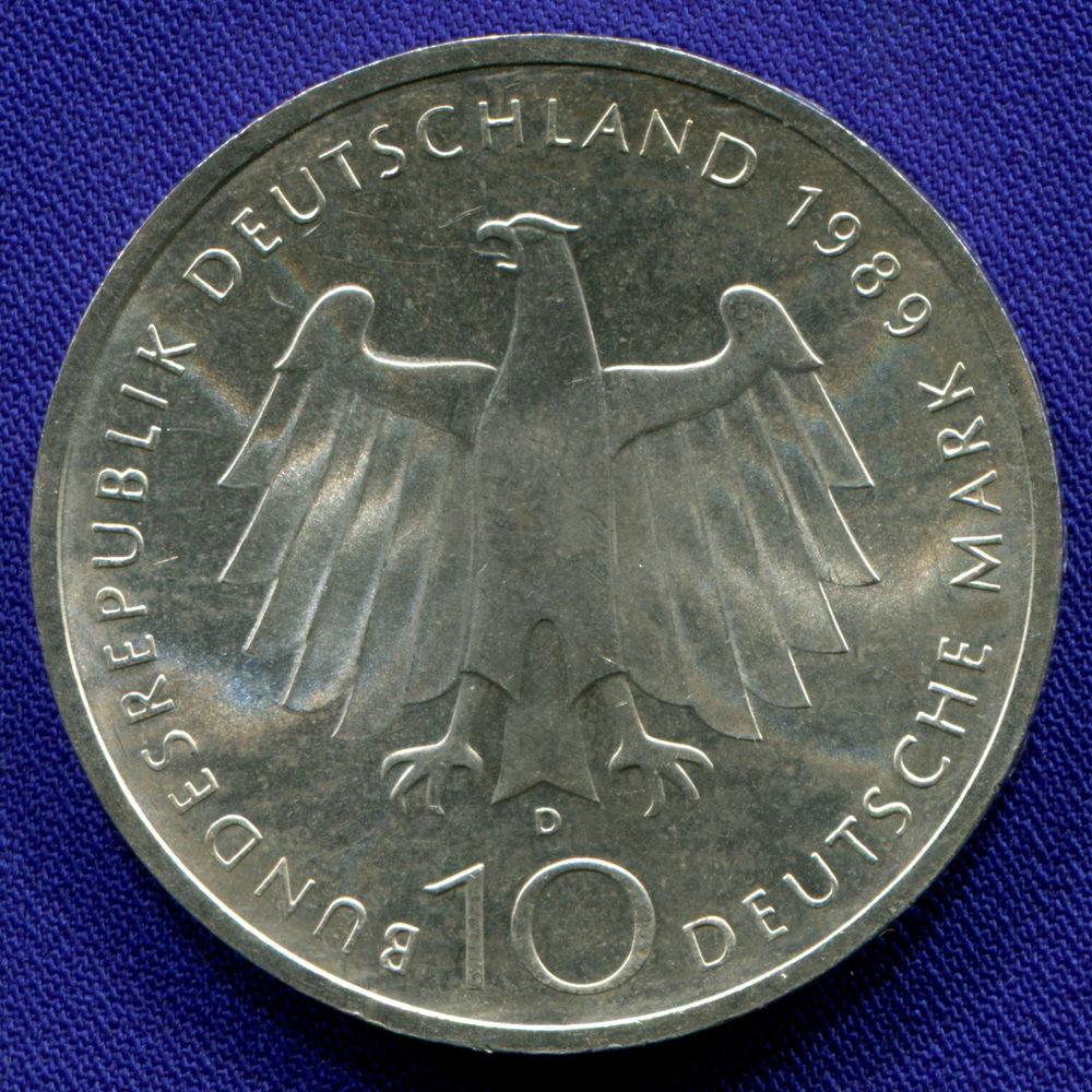 ФРГ 10 марок 1989 aUNC 2000 лет городу Бонн  - 1