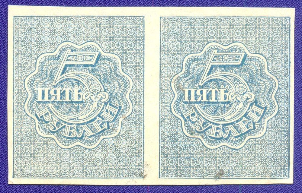 РСФСР 5 рублей 1920 года / XF / Теневые квадраты / Сцепка 2 штуки - 1