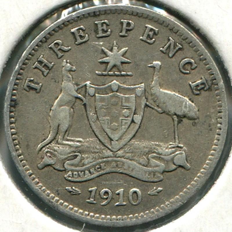 Австралия 3 пенса 1910 #18 VF - 1