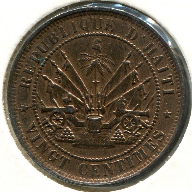 Гаити 20 сантимов 1863 #41 aUNC - 1