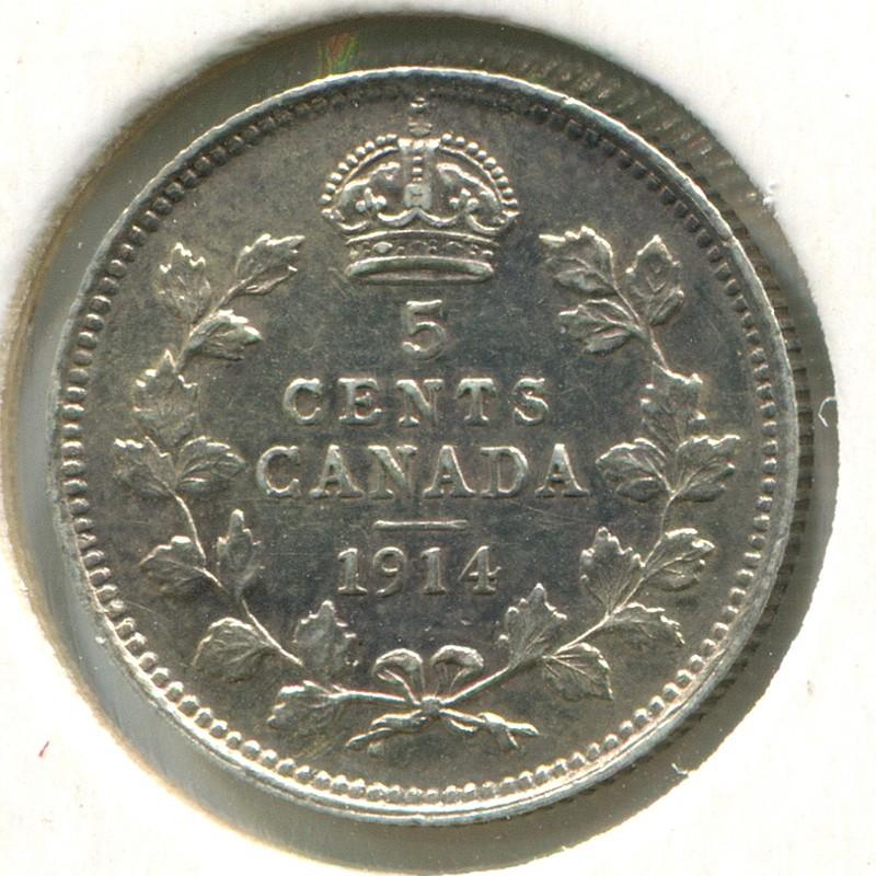 Канада 5 центов 1914 #22 AUNC - 1