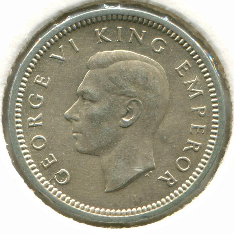 Новая Зеландия 3 пенса 1944 #7 aUNC - 1