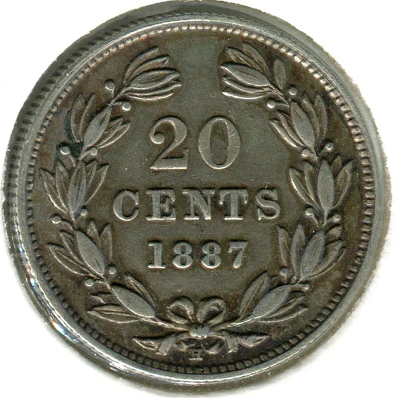 Никарагуа 20 сентаво 1887 #7 GVF - 1