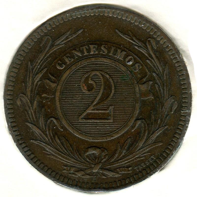 Уругвай 2 чентезимо 1869 #12 GVF - 1