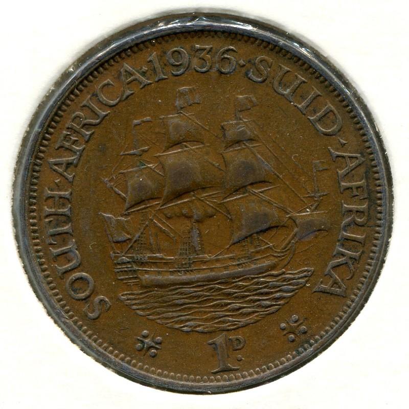 Южная Африка 1 пенни 1936 #14.3 XF - 1