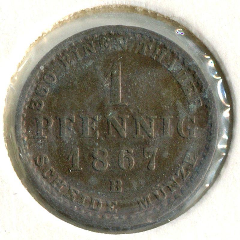 Германия Анхальт-Бернбург 1 пфенниг 1867 #96 - 1