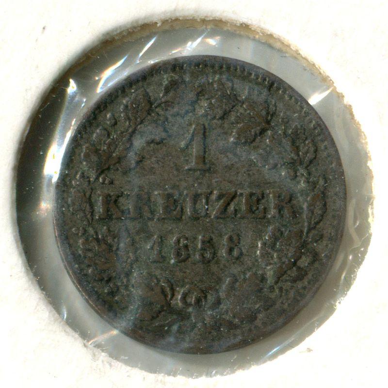 Германия Бавария 1 крейцер 1858 #858 XF - 1
