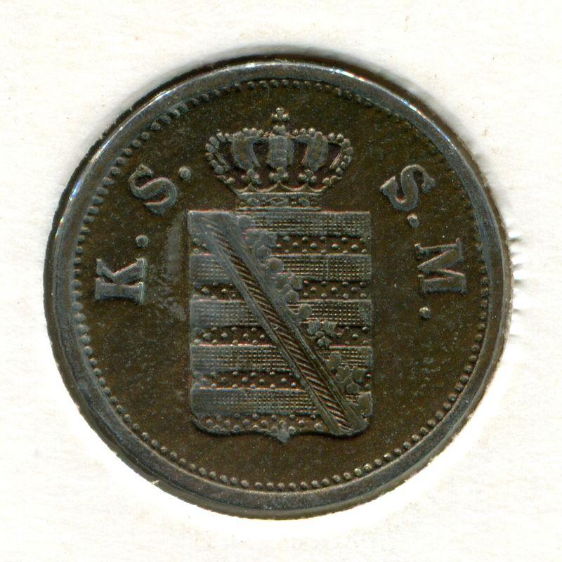 Германия Саксония 2 пфеннига 1859 #1185 - 1