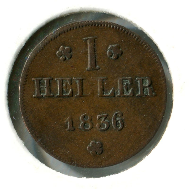 Германия Франкфурт 1 геллер 1836 VF - 1